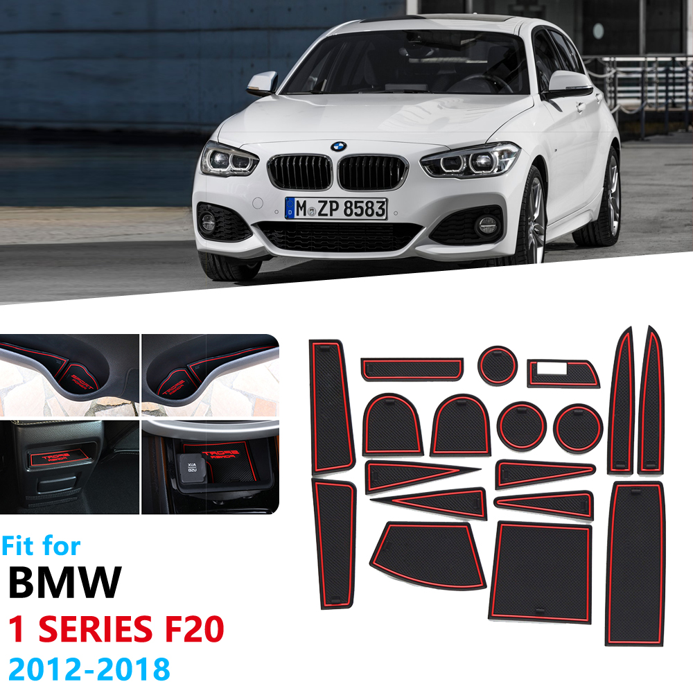 Anti-Slip Rubber Gate Slot Cup Mat For BMW 1 Series F20 2012~2019 Accessories 116 118 120 116i 118i 120i 116d 118d 120d M Power
