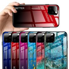 Gradient Glass Case for iPhone 11 Pro Max 2019 XS XR X 6 6S 7 8 Plus Marble Rainbow Protective Phone For