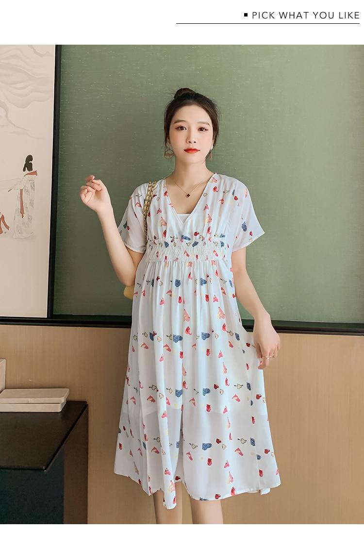 318 Summer Korean Fashion Floral Print Chiffon Maternity Dress Slim High Waist A Line Loose Clothes for Pregnant Women Pregnancy