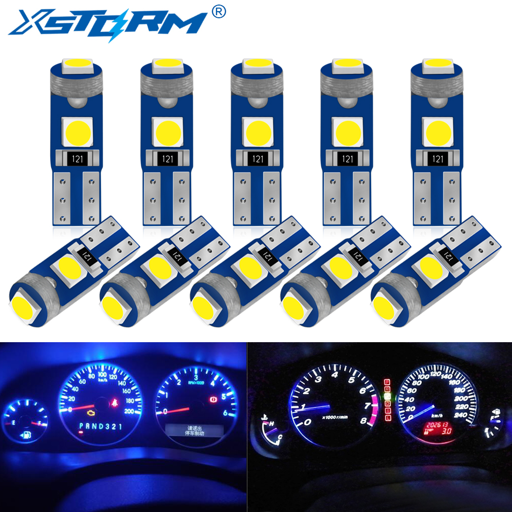 10Pcs T5 Led Bulb W3W W1.2W Led Canbus Car Interior Lights Dashboard warming indicator Wedge Auto Instrument Lamp 12V|Signal Lamp|   - AliExpress
