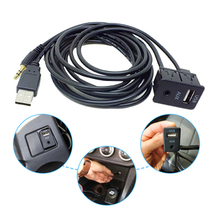 Image 2 - 150cm Car Dash Flush Mount USB Port Panel Auto Boat Truck 3.5mm AUX USB Extension Cable Adapter For Toyota VW Nissan KIA Honda