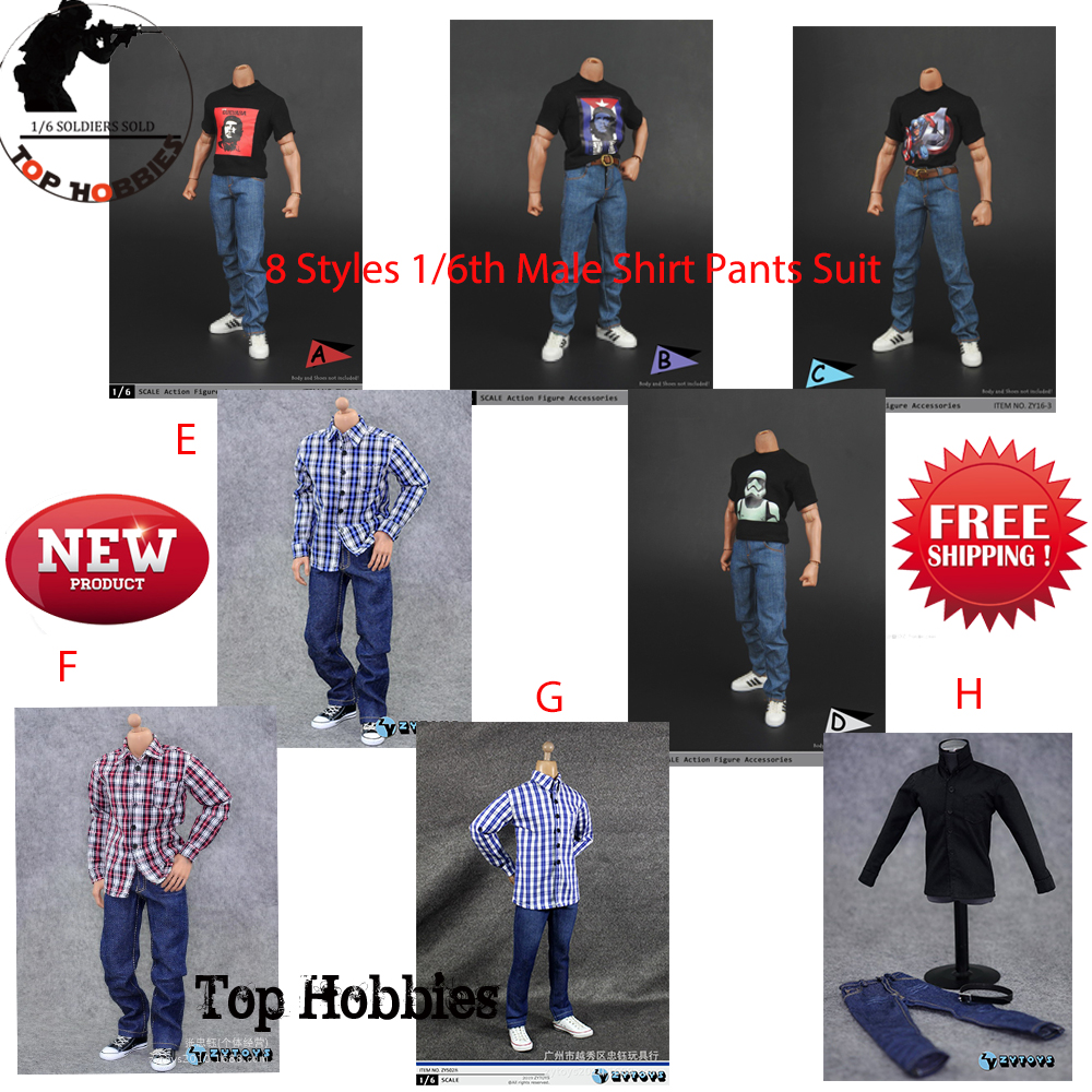 1//6 Outfits Plaid Shirt /& Khaki Combat Pants 12/'/' Action Figure Accessories