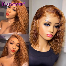 Short Curly Honey Blonde Bob Wig Lace Front Human Hair Wigs For Women #27 Color Brazilian Kinky Curly Lace Closure Frontal Wigs
