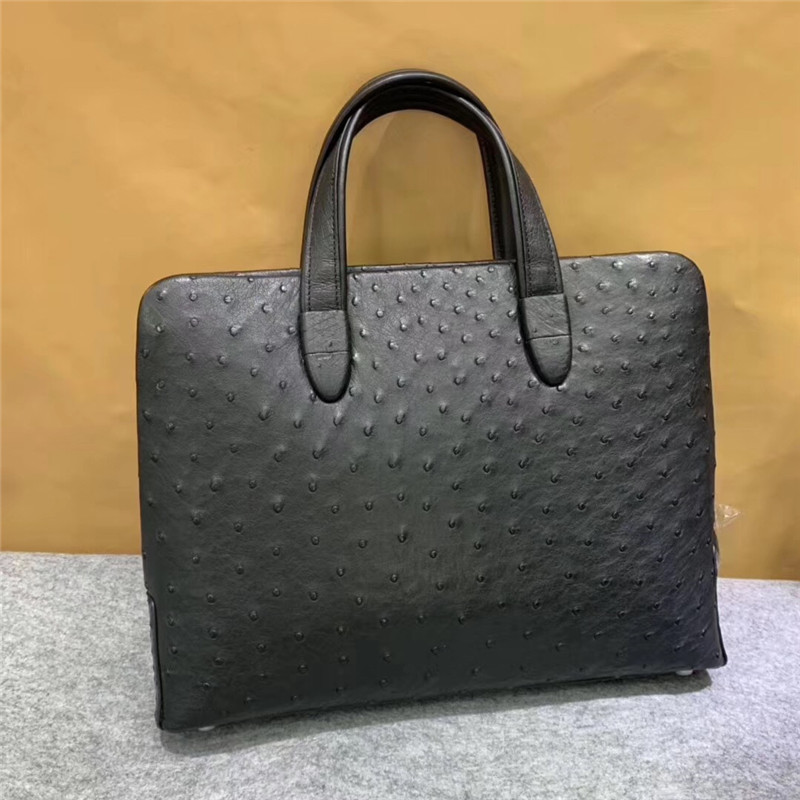 Passcode Zipper Closure Authentic Ostrich Skin Businessmen's Working Briefcase Exotic Genuine Leather Male Top-handle Handbag
