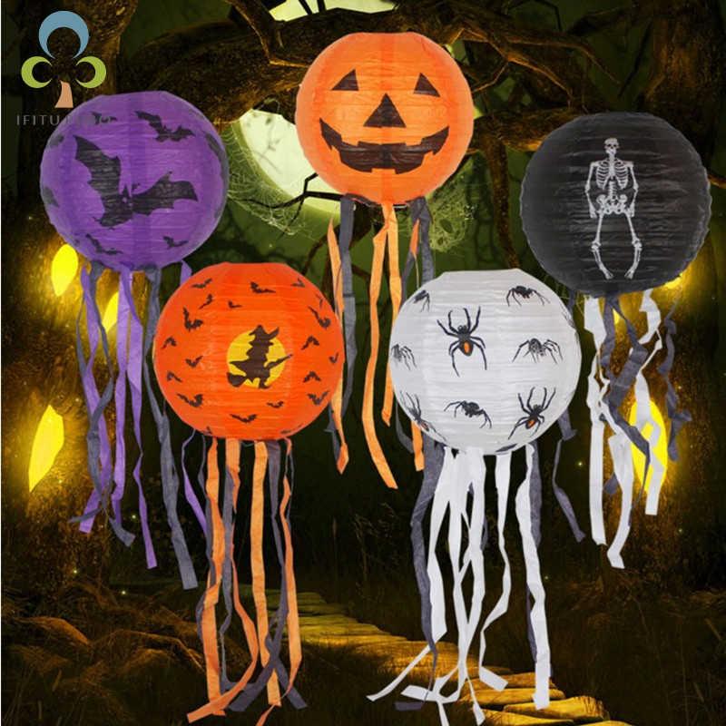 ฮาโลวีนกระดาษฟักทองแขวนโคมไฟ DIY Holiday Party ตกแต่งน่ากลัว Ghost แขวนตกแต่งในร่ม/กลางแจ้ง Spectre Party ZXH