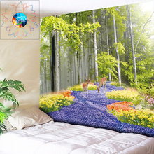 Forest Elk Hippie Wall Tapestry Flowers Psychedelic Mandala Hanging Living Room Bedroom Boho Home Decor Cloth