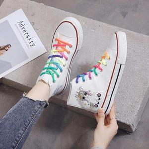 Image 4 - SWYIVY Women Vulcanized Shoes Cartoon Rainbow Lace Up Canvas Shoes Women Platform Flat High Top White Ladies Casual Sneakers