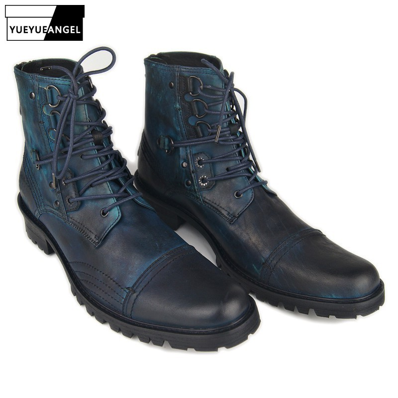 Punk Style Genuine Leather Lace Up Mens Military Cowboy Boots Handmade Casual Black/Blue Working Riding Botas Hombre Plus Size