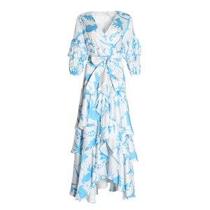 Image 4 - TWOTWINSTYLE Print Lantern Sleeve V Neck Wrap Dress Sash Waisted Asymmetric Ruffle Maxi Dresses Women Boho Fashion Autumn 2020