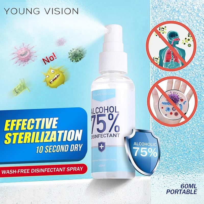 60ml Portable 75% Alcohol Spray Disinfection Effective Sterilazation Spray Wash-Free Hand Sanitizer Disposable Hand Sanitizer