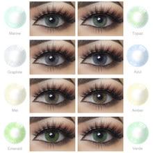 2 шт./пара Цвет контактные линзы естественного яркого косметический контактные линзы для объектива с Цвет ed контактные линзы для глаз серо-г...
