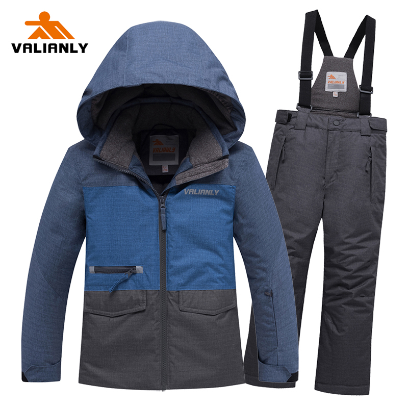 2019 Kids Boys Ski Suit Children Winter Snow Suit Boys Warm Skiing Jacket Pants 2 Pieces Waterproof Windproof Snowboarding Sets
