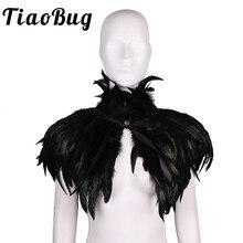 Vrouwen Bruiloft Schouderophalen Gothic Victoriaanse Natuurlijke Veer Cape Sjaal Gestolen Poncho Met Choker Kraag Voor Halloween Kostuum Partij
