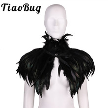 Women Wedding Shrug Gothic Victorian Natural Feather Cape Shawl Stole Poncho with Choker Collar for Halloween Costume Party