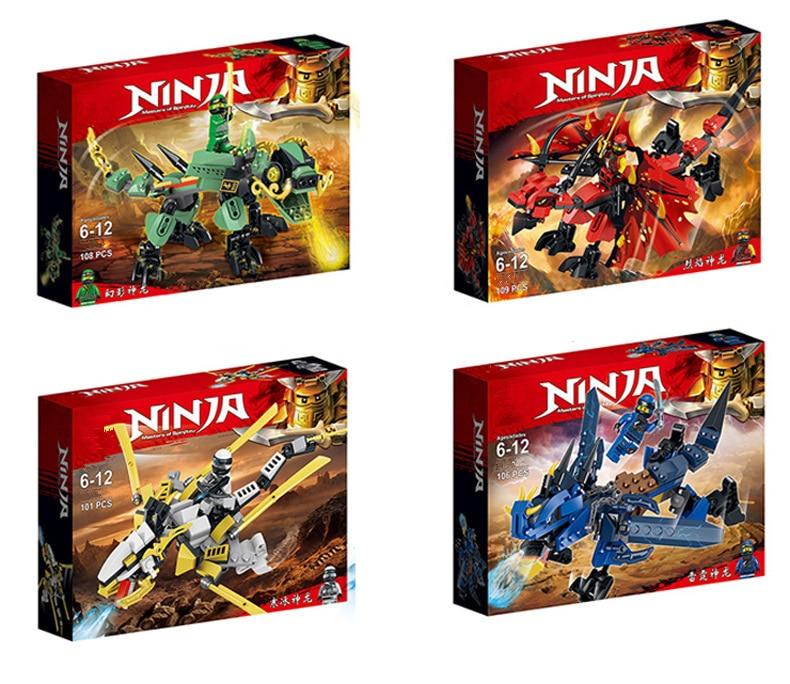 Compatible Ninja Ninjagoingly Dragon Building Block KAI JAY COLE ZANE Lloyd Ninja Action Figures Toys For Children Gifts