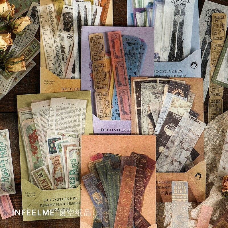 40 шт./лот, наклейки для канцелярских товаров Kawaii, ретро-Альбом для творчества, скрапбукинга, дневник Happy Planner