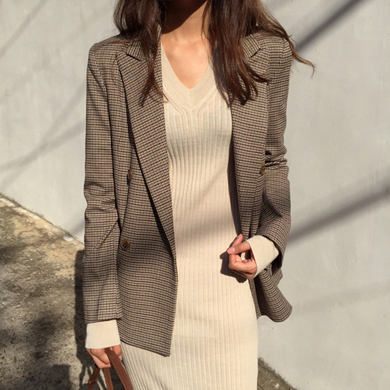 2020 Female Vintage Double Breasted Office Ladies Plaid Suit Coat Long Sleeve Loose Houndstooth Suit Coat Women Coat