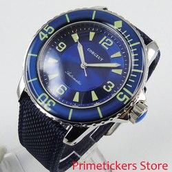Zielone dłonie 45mm niebieska tarcza obrotowa ramka mechanizm automatyczny męski zegarek zapięcie pin