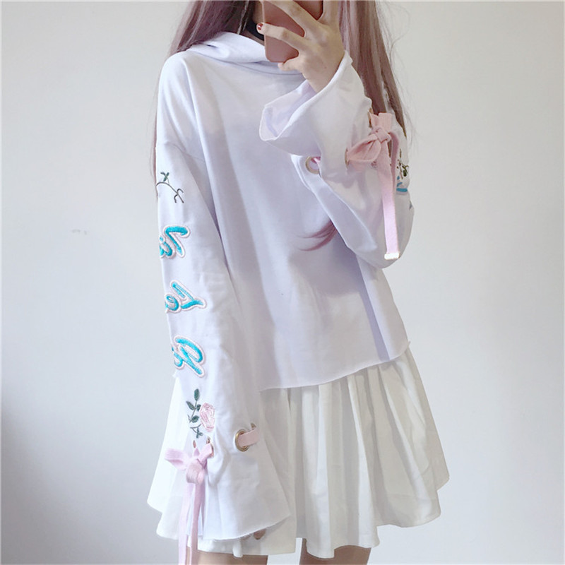 MERRY PRETTY Harajuku Women Hooded Sweatshirt Flower Embroidery Lace Up Casual Long Sleeve Hoodies GirlsTracksuit Pullovers