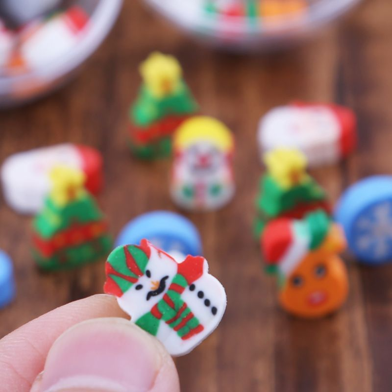 12pcs/pack Christmas Eraser Snowman Tree Santa Claus Stationery Supplies Gift LX9A