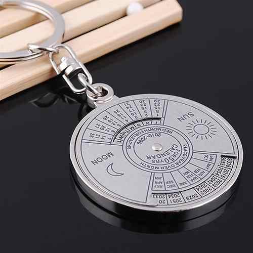 50 anos calendário perpétuo chaveiro chaveiro liga de prata chaveiro keyfob gravar data aniversário do casamento presente