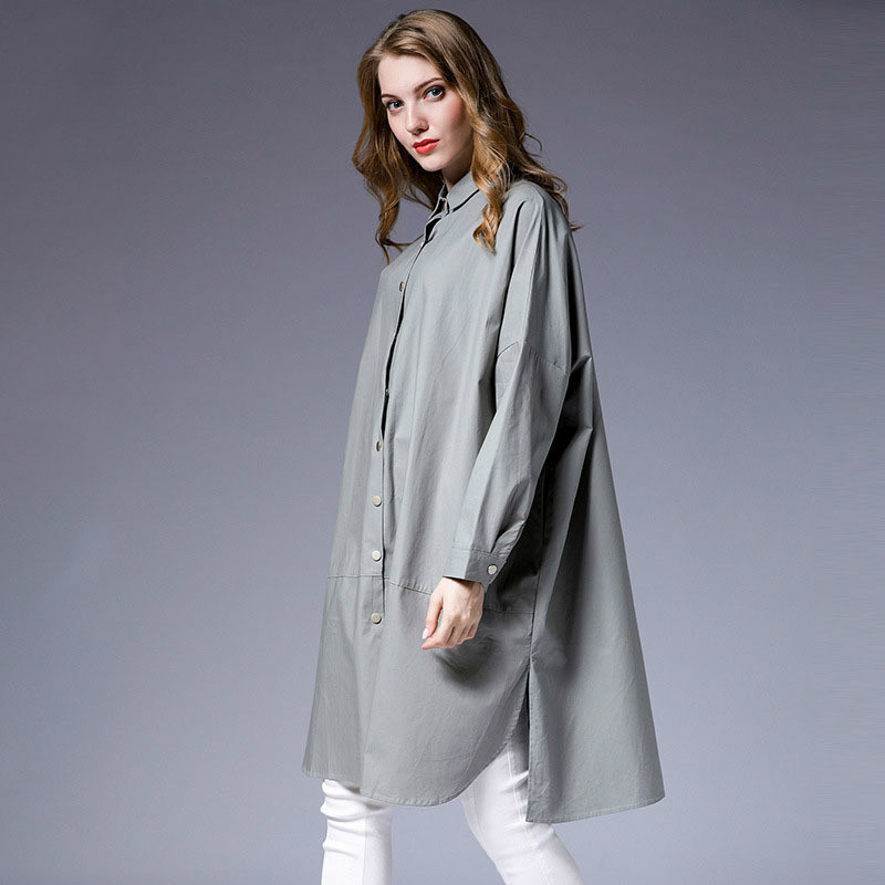 LANMREM 2020 New Fashion Turn Down Collar Full Sleeve Shirt Type Thin Coat Female's Loose Large Size Windbreaker Vestido YE379