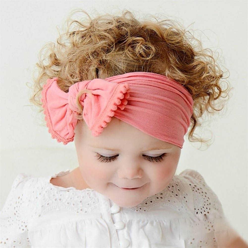 เด็กทารก Big Bow Hairband สีทึบ Knot Turban ผ้าฝ้ายยืดหัวห่อ 2019 Headband สำหรับสาวผม 0-6Years
