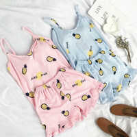 Fallsweet verão impressão pijama conjuntos para mulheres algodão sleepwear meninas sem mangas lingerie sexy conjunto de duas peças