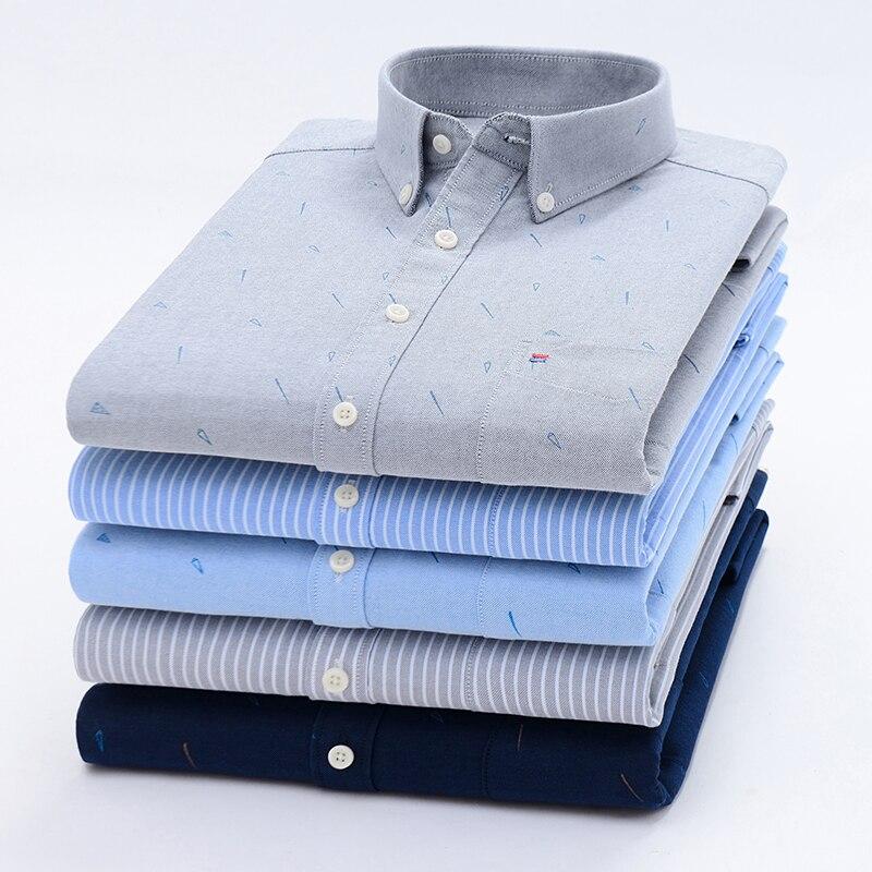 Image 3 - Мужские рубашки с длинным рукавом, Стандартная посадка, мужская клетчатая рубашка, полосатые рубашки, Мужская одежда, Оксфорд, Camisa Social, 5XL, 6XL, большие размеры, уличная одежда-in Повседневные рубашки from Мужская одежда