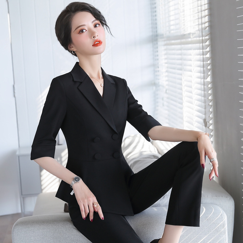 Female Black White Red Skirts Suits 2020 Two Pieces Set 1/2 Sleeve Irregular Blazer Jacket with Skirt Plus Size Ol Korean Suite