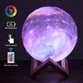 3d Светодиодная настенная настольная лампа Galaxy Moon, ночник, домашнее освещение, милый Декор для комнаты, прикроватная лампа для спальни, детск...