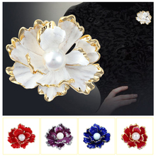 Enamel Peony Flower Pearl Brooches for Women Wedding Party Pin New Design Coat Suit Brooch  Jewelry Gift