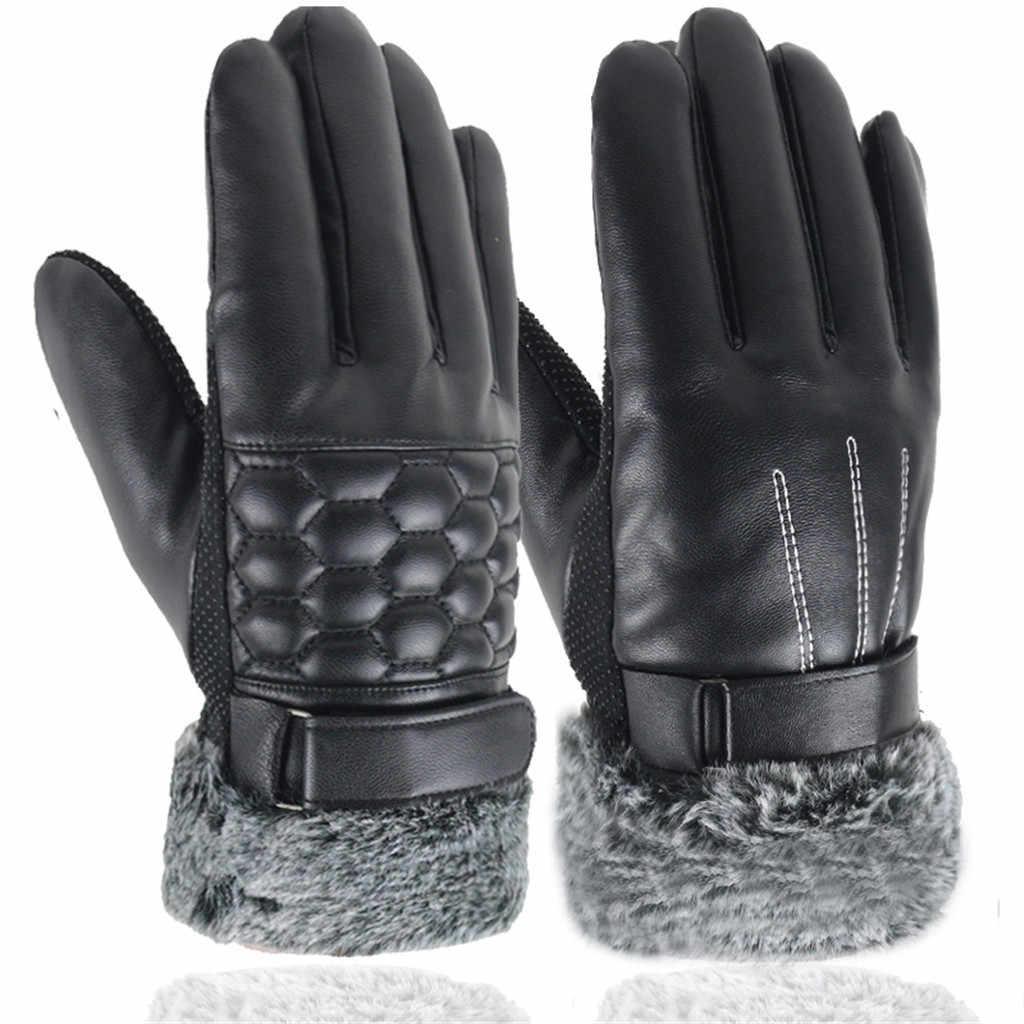 Mens Winter Touch Screen ถุงมือหนังรถจักรยานยนต์ลื่นนิ้วมือเต็มถุงมือป้องกันเกียร์กีฬากลางแจ้ง