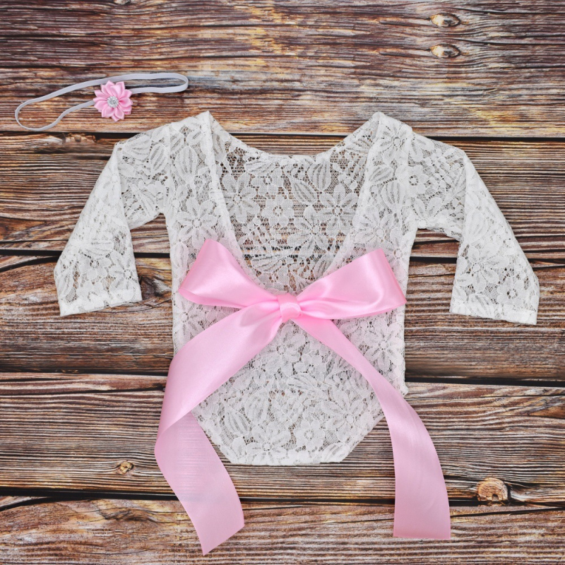 Baby Cute Lace Bow Romper Long Sleeve Bodysuit Solid Clothes Photography Props