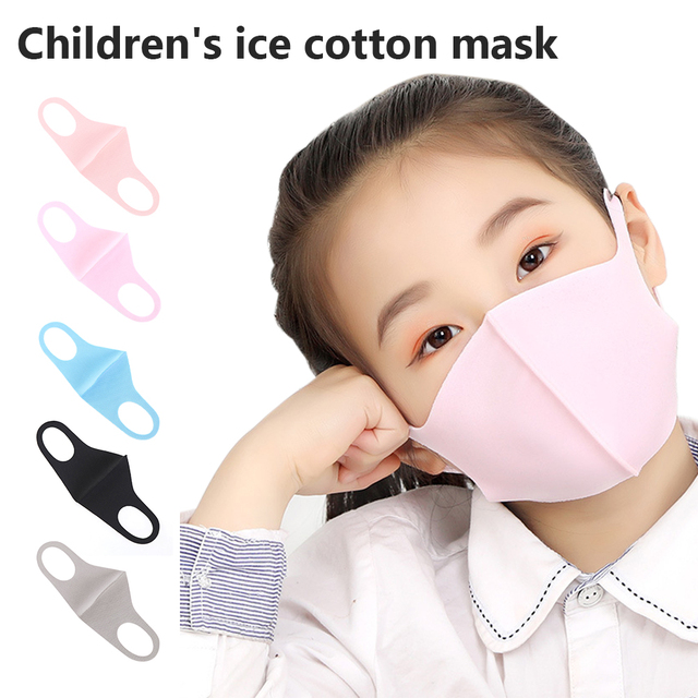 New Kids Children Ice Cotton Mouth Face Mask Respirator Breathable Washable Reusable Dustproof Face Cover Masks For Boys Girls 1