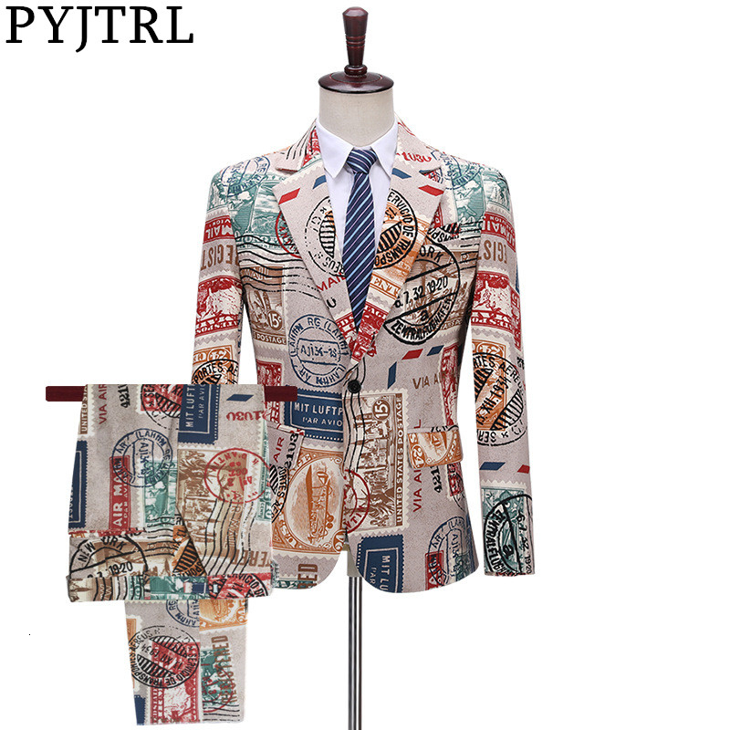 PYJTRL Men Vintage Two-piece Set Suits Love New Paper Stamp Print Night Club Singers Prom Party Tuxedo Latest Coat Pant Designs