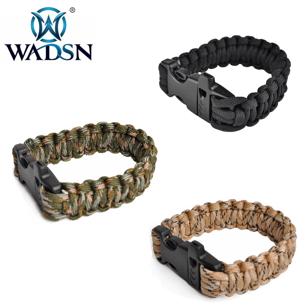 WADSN Unisex Tactical Braided Bracelet Anti-aging Umbrella Rope Weaving Survival Whistle Bracelets WEX387 Paintball Accessories