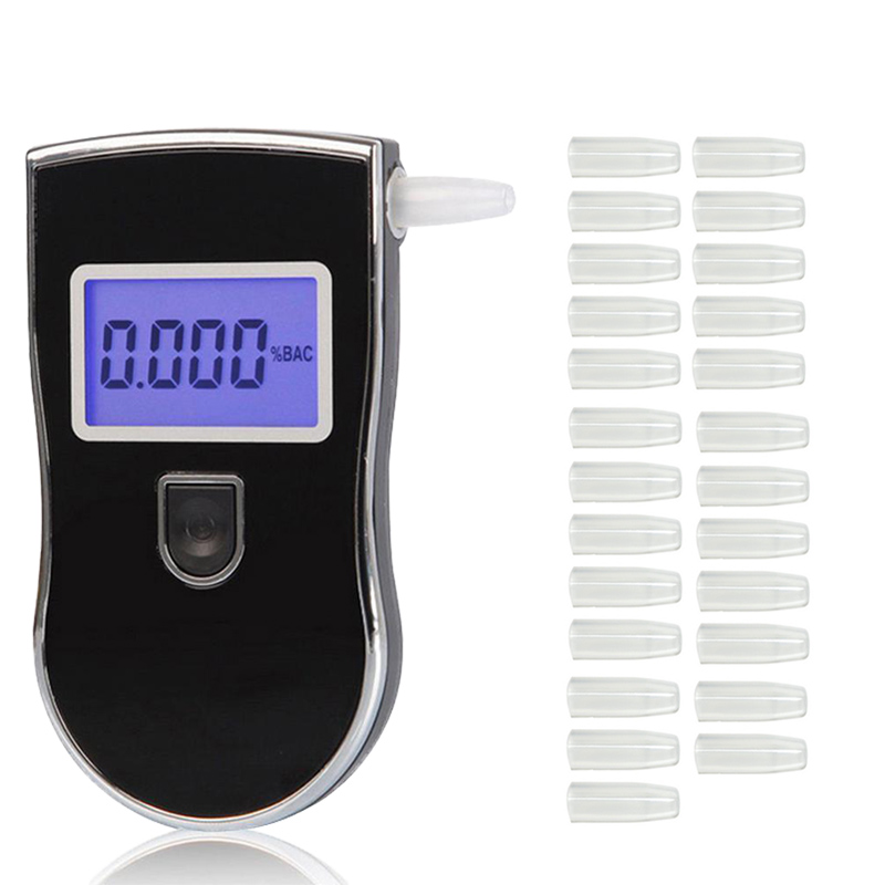 Professional Alcohol Tester Police Digital LED Breath Alcohol Tester Breathalyzer AT818 +25pcs Mouthpieces Alcohol Meter Dfdf
