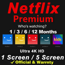 Netflixse Pre-mium 4K UHD 1-5 screens support of automatic renewal