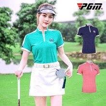 PGM футболка для гольфа для Для женщин для активного летнего спорта одежда мягкая Полосатые рубашки женские короткий рукав футболки для гольфа одежда для гольфа