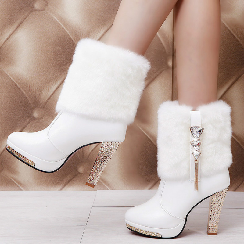 High Heels Snow Boots Women Leather Platform Plush Ladies Winter Shoes Warm Fur Ankle Boots for Women Botas Mujer 2019 Fashion 12