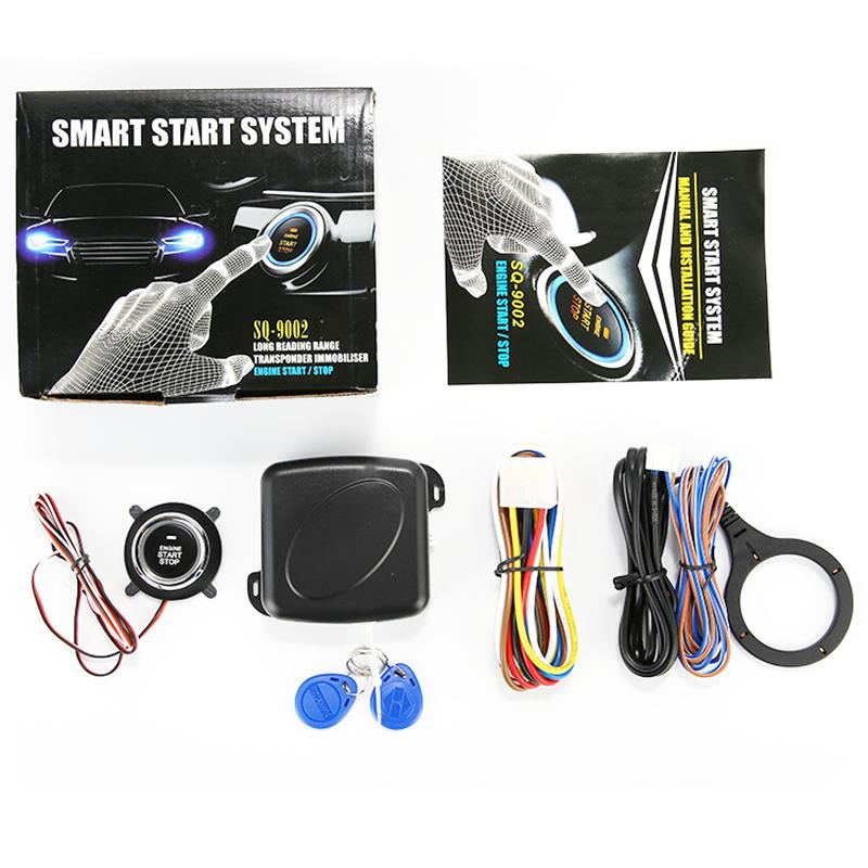 Car Smart Alarm System Push Engine Start Stop Button Lock Ignition Immobilizer with Remote Keyless Entry System 12V