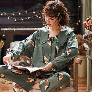 Image 2 - 2019 inverno pijamas feminino coreano 2 pçs pijamas conjunto de pijama femme manga longa algodão kawaii plus size pijamas mujer sleep lounge