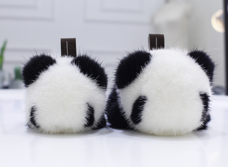 Mink fur panda doll pendant cute pendant bag pendant car ornament key chain