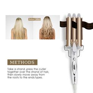 Image 3 - Utensilios peluquería profesional rizador de cerámica, Triple barril, estilizador de pelo, herramientas de estilismo, rizador de pelo eléctrico