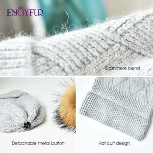 Image 5 - ENJOYFUR Winter Hats For Women Natural Fur Pompom hat Warm Wool Slouchy Beanies For Female Fashion Skullies Lady Hats