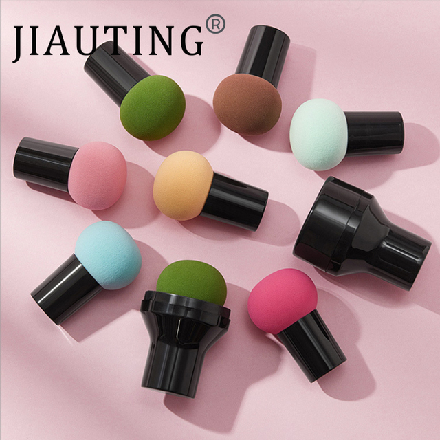 JIAUTING Makeup Sponge Cosmetic Puff with Handle Puff For Foundation Concealer Cream Powder Puff Smooth Women's Makeup 1Pc 5