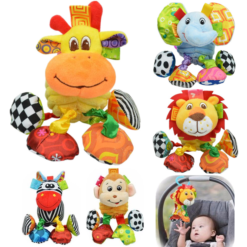 0-12 Month Infant Baby Rattles Mobiles Toys Spiral Bed Stroller Crib Cot Hanging Plush Rattle Toy Animal Early Educational Toy