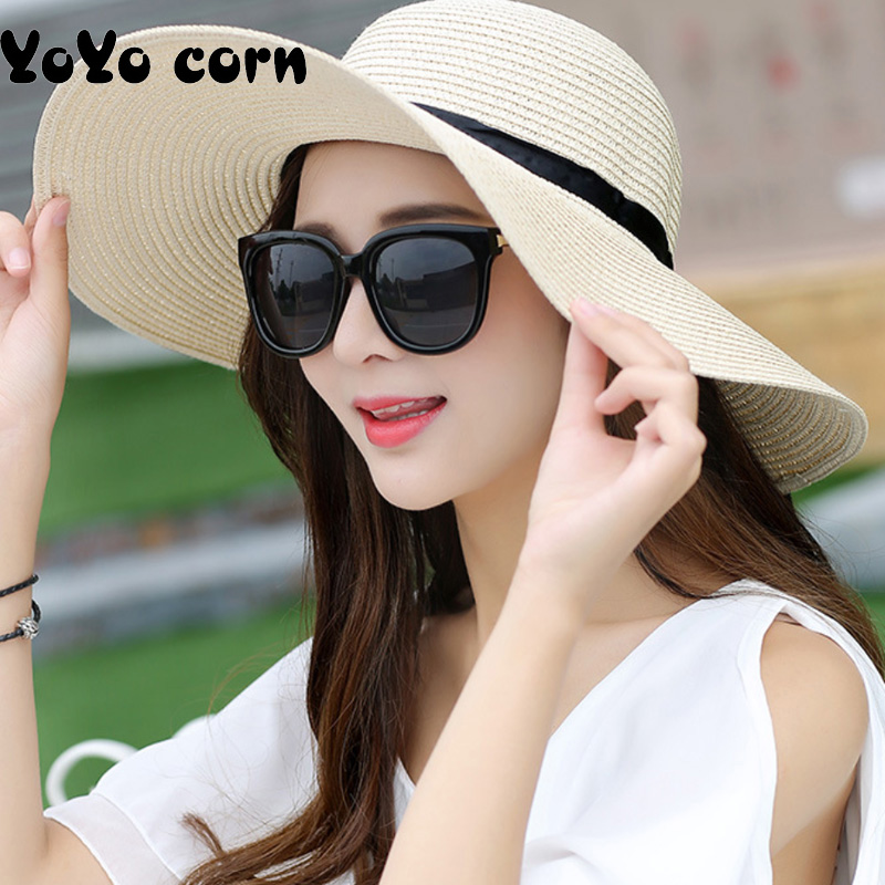 YOYOCORN Summer Straw Hat Women Big Wide Brim Beach Hat Sun Hat Foldable Sun Block UV Protection Panama Hat
