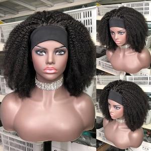 Afro Kinky Curly Wig 250% Density Human Hair Headband Wig Short Curly Full Machine Made Human Hair Wig With Headband No Glue